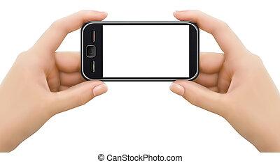 tenere mani, mobile, due