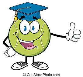 tennis, berretto, palla, laureato