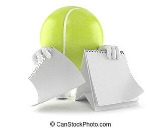 tennis, calendario, palla, carattere, vuoto