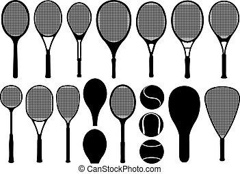 tennis, differente, set, racchette
