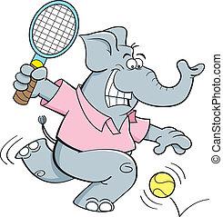 tennis, elefante, gioco, cartone animato
