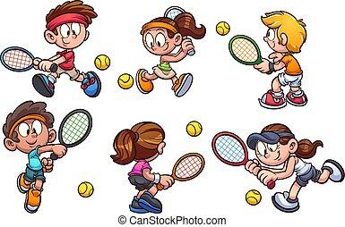 tennis, gioco, bambini