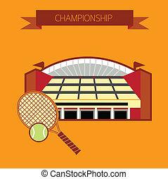 tennis, stadio, campionato