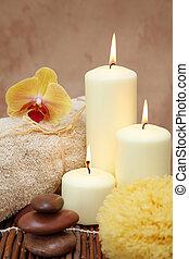 terme, bianco, candele