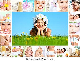 terme, collage., massaggio