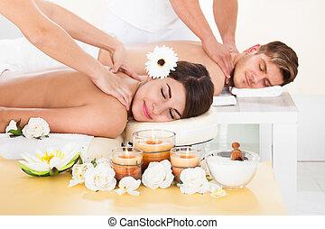 terme, coppia, ricevimento, massaggio
