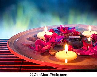 terme, galleggiante, piatto, pietanza, candele