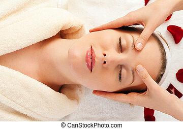 terme, massaggio, faccia