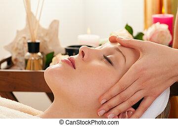 terme, massaggio, fondo, faccia
