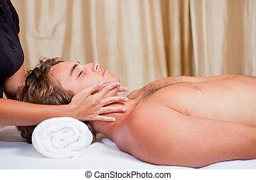terme, massaggio, uomo