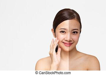 terme, perfetto, concetto, bellezza, sano, medico, isolato, faccia, skincare, fondo., clinica, donna, asiatico, pelle, ritratto, abbronzatura, splendore, bianco, cosmetica
