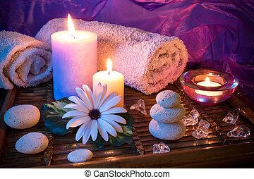 terme, pietra, ghiaccio, candela