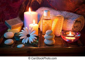 terme, pietra, olio, sapone, candela
