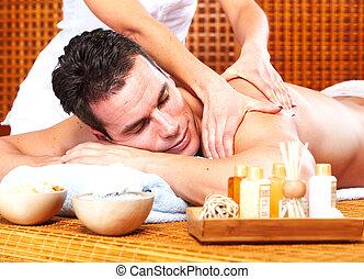 terme, uomo, giovane, massaggio, salon.