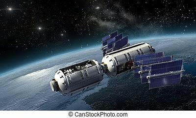 terra, agrimensura, astronave