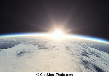 terra, alba, spazio