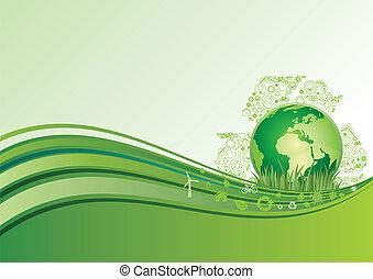 terra, ambiente, verde, ba, icona