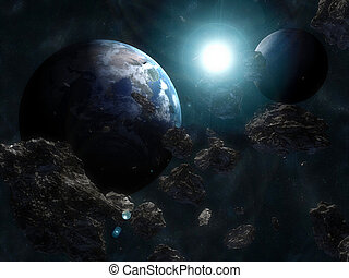 terra, asteroide, infront