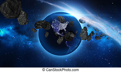 terra, asteroidi, spazio