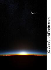 terra, attraverso, atmoshere, alba