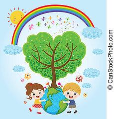 terra, bambini, abbracciare
