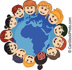 terra, bambini, intorno, cartone animato