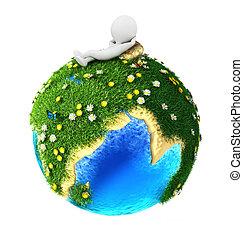 terra, bianco, 3d, verde, persone