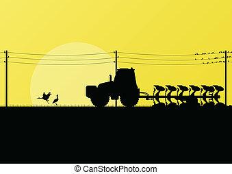 terra, campi, coltivato, illustrazione, vettore, trattore, fondo, paese, agricoltura, aratura, paesaggio