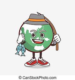 terra, cartone animato, pianeta, pesca, carattere, 2, pesci, mascotte