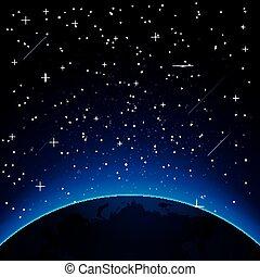 terra, copia, stelle, space.