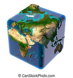 terra, cubico, traslucido, oceano