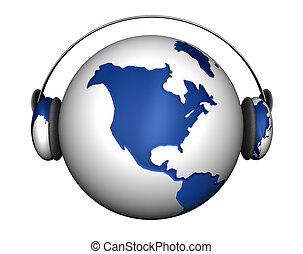 terra, cuffie, musica