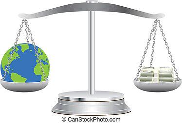 terra, dollari, scale