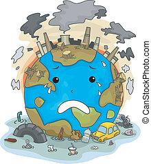terra, dovuto, pianto, inquinamento