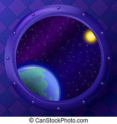terra, finestra, spazio
