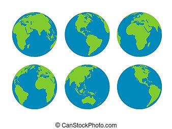terra, globi, sei
