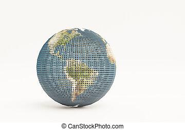 terra, isolato, bianco, pianeta