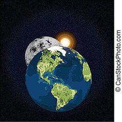 terra, luna, sole
