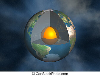 terra, magma, centro