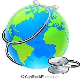 terra, mondo, stetoscopio, globo