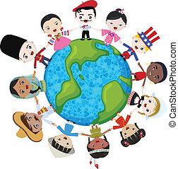 terra, multicultural, bambini