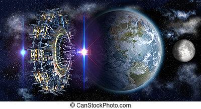 terra, nearing, ufo