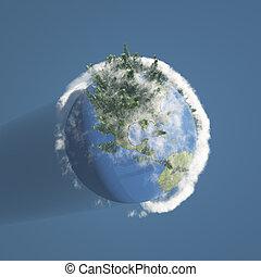 terra, nubi, albero