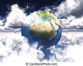 terra, nubi bianche