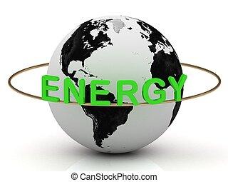 terra, oro, ruota, intorno, verde, energia, anello