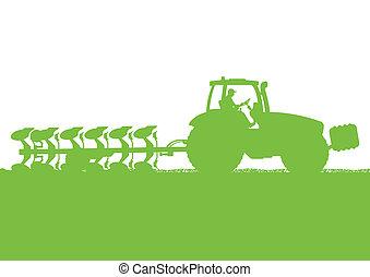 terra, paese, illustrazione, campo, vettore, grano, trattore, fondo, coltivato, agricoltura, aratura, paesaggio
