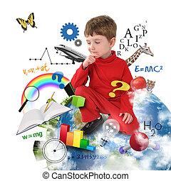terra, pensare, ragazzo, scuola, educazione