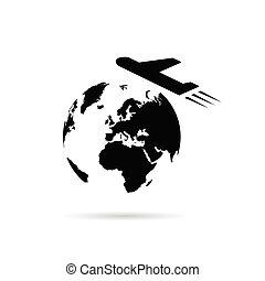 terra pianeta, aeroplano, illustrazione