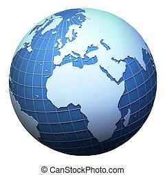 terra pianeta, africa, modello, isolato, -, europa, bianco