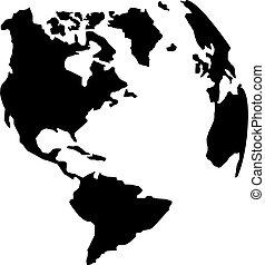 terra pianeta, americano, silhouette, continenti